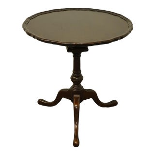 """High End Solid Mahogany Traditional Style 28"""" Tilt Top Pie Crust Gueridon Table For Sale"""