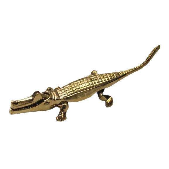 Solid Brass Alligator Nutcracker For Sale