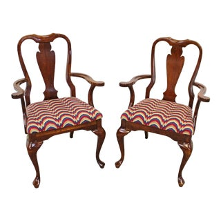 Vintage Queen Anne Cherry Arm Dining Chairs - a Pair For Sale