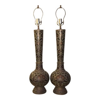 Anglo Indian Etched Brass / Bronze Lamps - a Pair For Sale