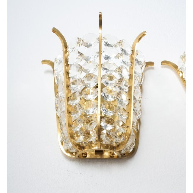 Pair of Bakalowits Crown Sconces Brass and Glass, Austria 1955 For Sale - Image 6 of 8