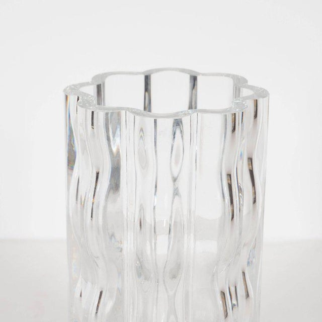1960s Swedish Mid-Century Modern Translucent Handblown Rippled Glass Vase by Orrefors For Sale - Image 5 of 10