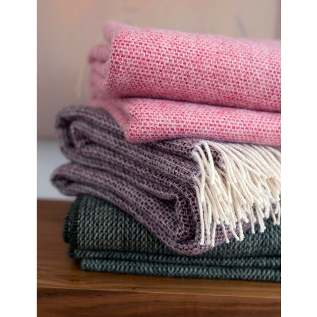 Contemporary Contemporary Chalet Throw Moss Wool Blanket For Sale - Image 3 of 4