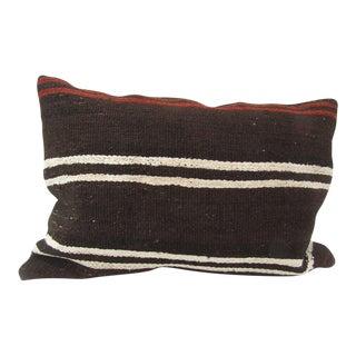 Vintage Handmade Turkish Kilim Brown Pillow For Sale