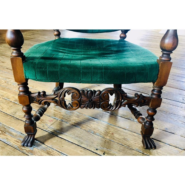 1920s 1920s Vintage Carved Emerald Armchair For Sale - Image 5 of 7