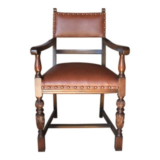 Early 20th Century Walnut Open Arm Chair For Sale