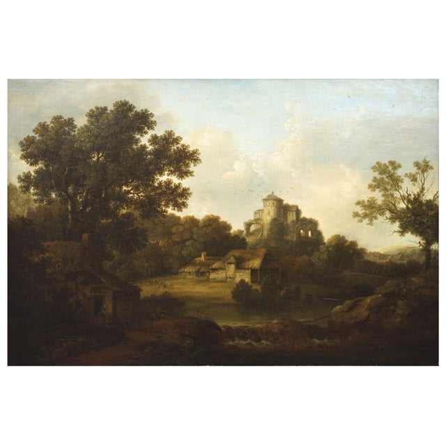 An exquisite landscape depicting a quaint rural farm with a young woman and her daughter playing with their dog before a...