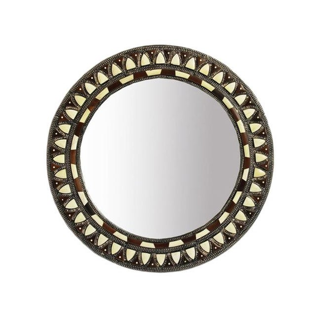Asian Round Inlay Mirror Small For Sale - Image 3 of 3