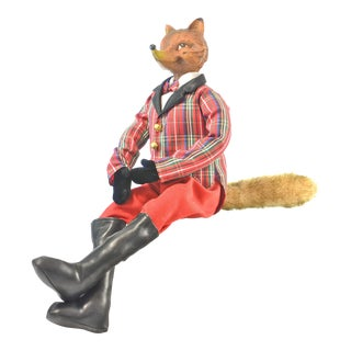 Red Plaid English Christmas Fox Figurine For Sale