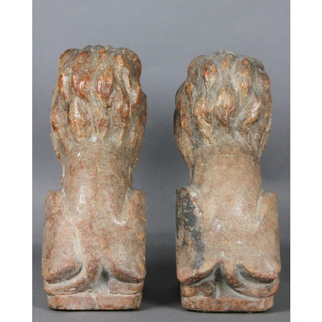 Pair of Italian Verona Marble Lions For Sale In Boston - Image 6 of 8
