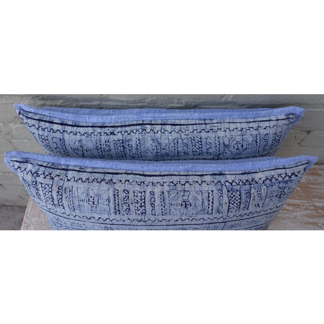 Navy & Light Blue Batik Pillows - A Pair For Sale - Image 5 of 6