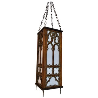 Antique 1920s Gothic Wood Lantern For Sale