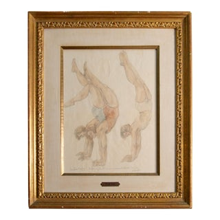 "1930s Vintage Odilon Roche ""Daide a Fait Ce Mouvement Toute Seule"" Gilded Framed Mixed Media Drawing For Sale"