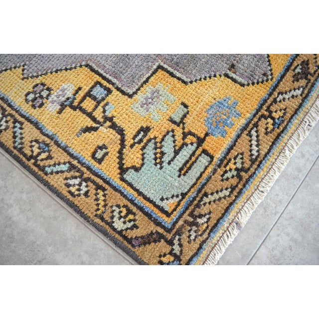 Boho Chic Distressed Low Pile Turkish Yastik Petite Rug Faded Colors Mat - 18'' X 37'' For Sale - Image 3 of 4
