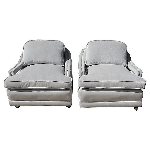 Mid-Century Gray Lounge Chairs - a Pair - Image 1 of 7