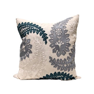Bliss Vanilla Blues Paisley Pillow Covers - Pair For Sale