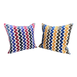 Italian Velvet Fabric Pillows - A Pair For Sale