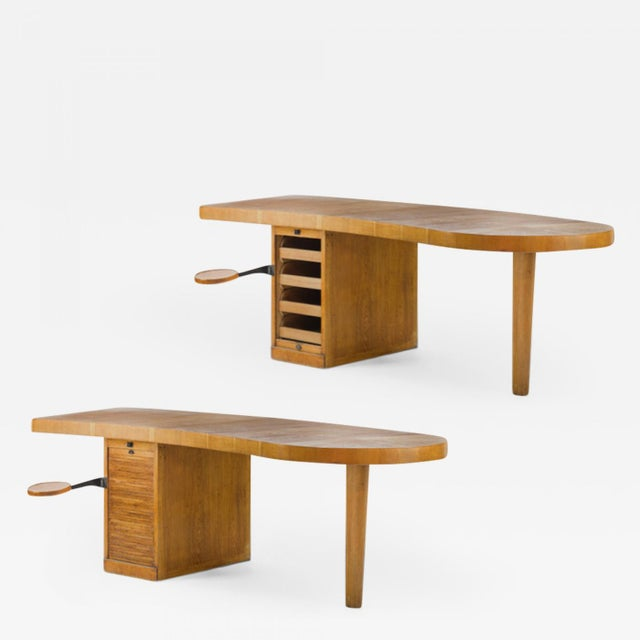 French Exceptional French Modernist Boomerang Shaped Architect Desk. For Sale - Image 3 of 3