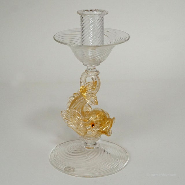 Archimede Seguso Glass Candle Stick With Dolphin Ca. 1960ties For Sale - Image 6 of 9