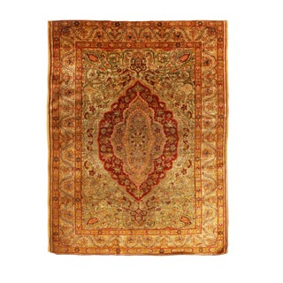 Antique Kayseri Beige and Red Silk Rug- 3′10″ × 5′8″ For Sale