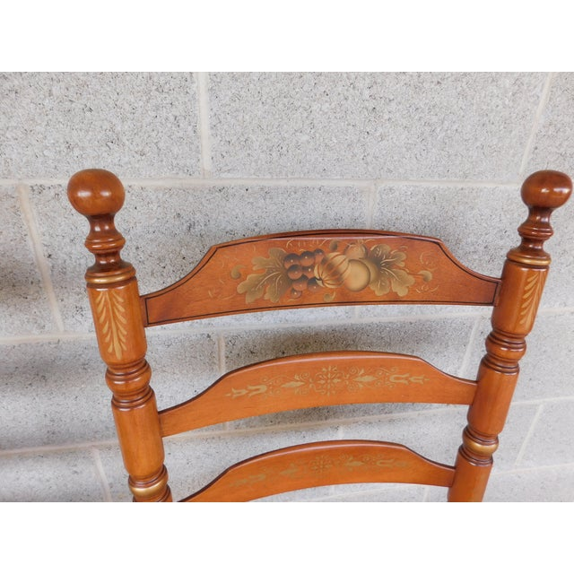 Late 20th Century L Hitchcock Harvest Stenciled Ladder Back Rush Bottom Chairs - a Pair For Sale - Image 5 of 13