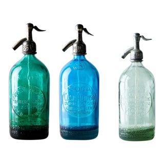 Vintage Seltzer Bottles - Set of 3 For Sale