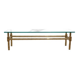 1960's Hollywood Regency Faux Bamboo Brass & Glass Coffee Table For Sale