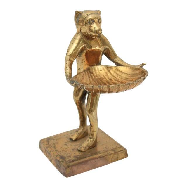 Mid-Century Brass Monkey Figurine Card Holder For Sale
