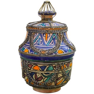 Moorish Ceramic Bowl With Lid For Sale