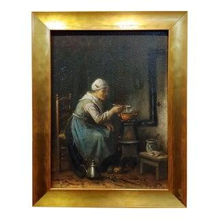j.j. Matthijs Damschroeder -Woman Cooking-19th Century Dutch Oil Painting For Sale
