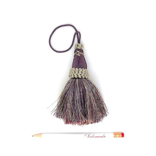 Key Tassel in Amethyst and Gray With Ruche Trim For Sale - Image 4 of 11