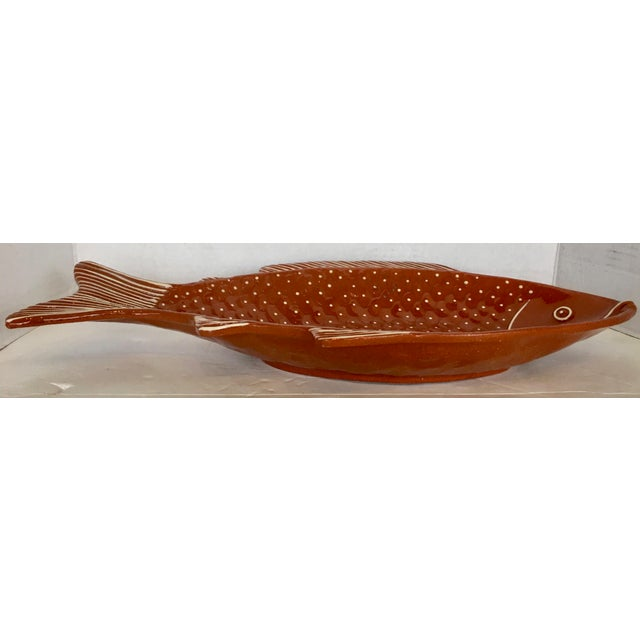Mid-Century Modern Vintage Rust Color Fish Platter For Sale - Image 3 of 9