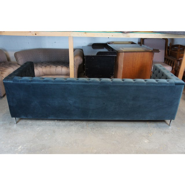 Vintage Blue Tufted Modern Velvet Upholstered Sofa For Sale - Image 12 of 13