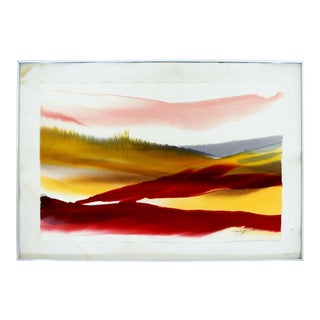 Mid Century Modern Framed Von Dyan Signed Abstract Watercolor Painting 1970s For Sale