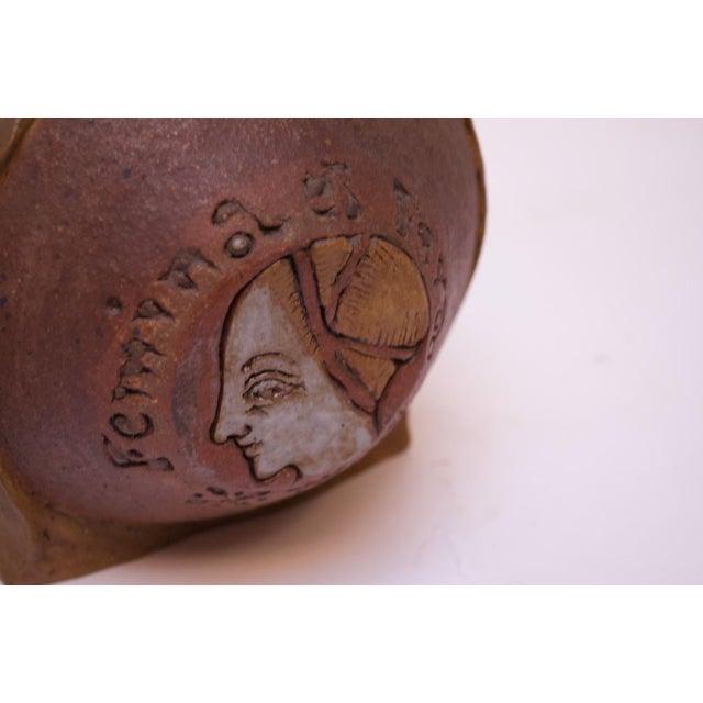 """Brown """"Femina El Fera"""" Figural Studio Stoneware Vase / Candleholder Signed Polk For Sale - Image 8 of 13"""