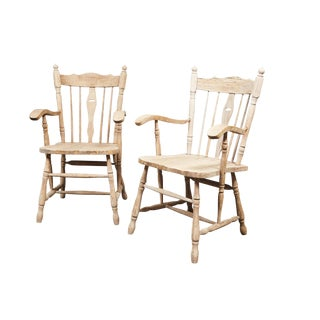 19th C. English Bleached Oak Armchairs - A Pair For Sale