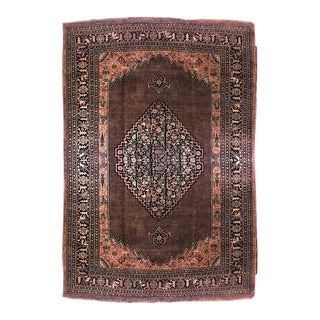 Persian Bijar Maroon and Blue Wool Rug For Sale