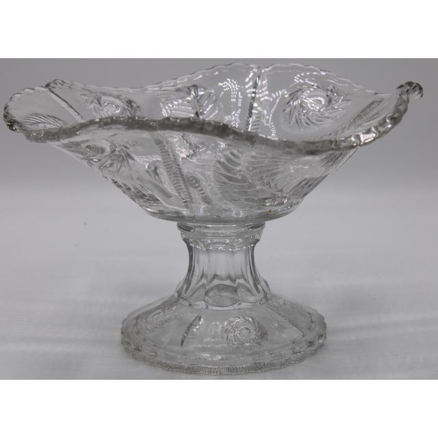 This is a lovely French Crystal Cut Glass Compote with gently sloped, scalloped edges. Use it to compliment a centerpiece...