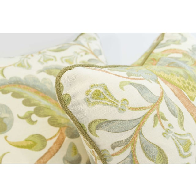 Floral Duck Egg Pillows - a Pair For Sale - Image 5 of 6