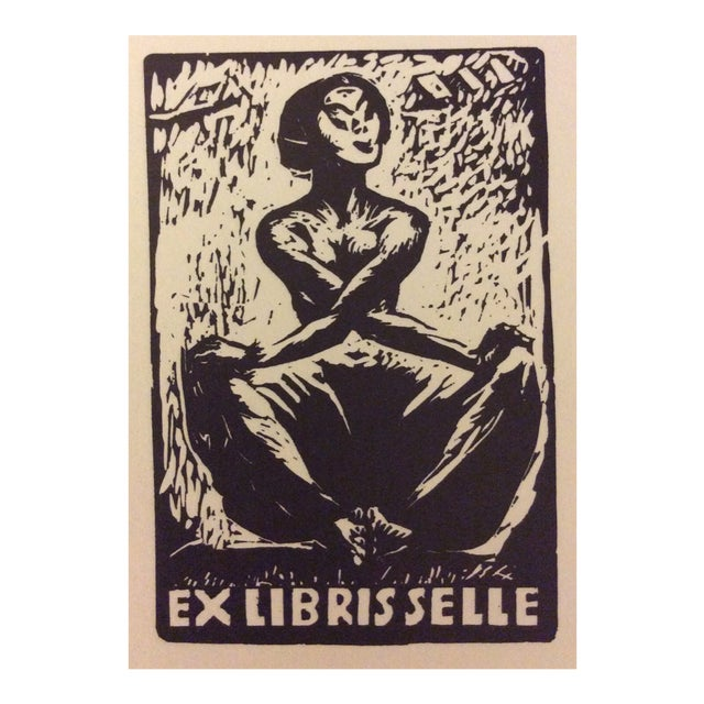 1930s Seated Female Nude Woodblock Bookplate For Sale