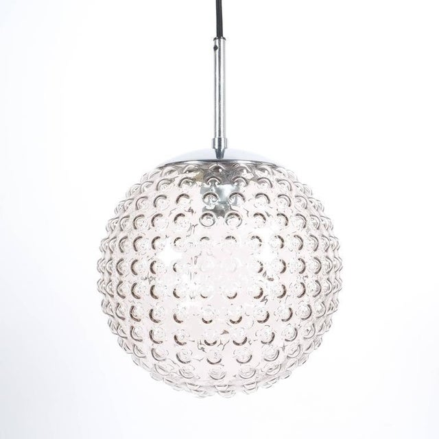 One of Five Bubble Glass Chrome Pendant Lamps by Staff, 1960 For Sale - Image 6 of 6