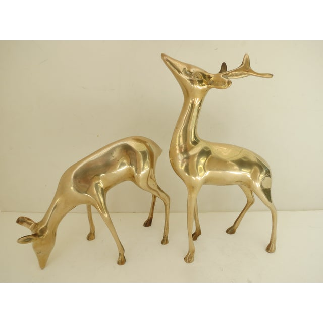 Brass Deer Figurines - A Pair - Image 2 of 8