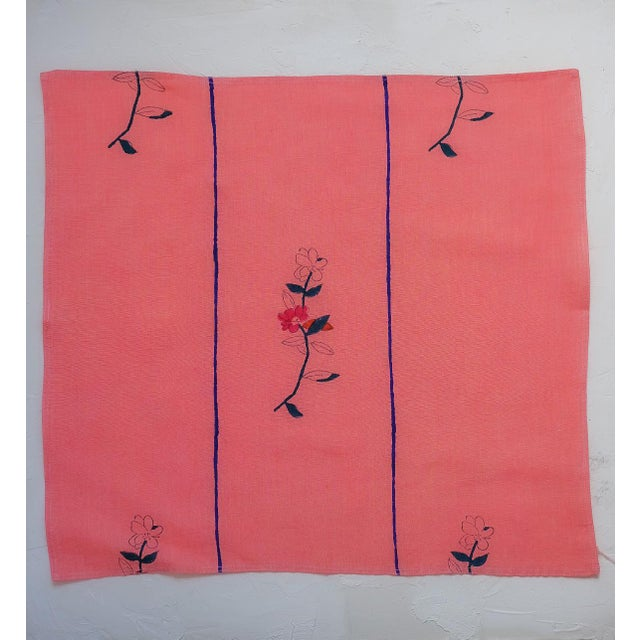 Contemporary Zeenat Handwoven & Block-Printed Table Napkins - Set of 4 For Sale - Image 3 of 4