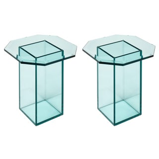 French Vintage Set of Glass Side Tables For Sale