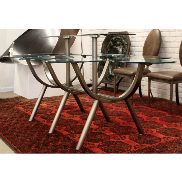 Contemporary Contemporary Modern Glass & Steel Banquet Dining Table Dia 1980s Circle of Life For Sale - Image 3 of 12