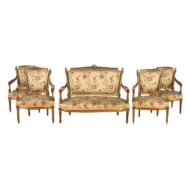 French Gilt Wood Louis XVI Style Settee & Arm Chairs - Set of 5 For Sale - Image 13 of 13