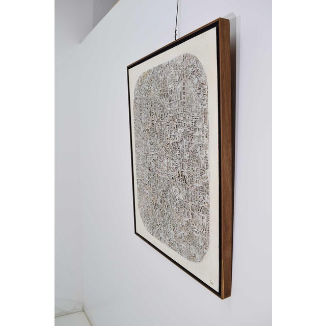 """Signed by """"Terri"""" a unique Brutalist style art piece. Looks to be resin stamped and or carved on a Masonite board."""