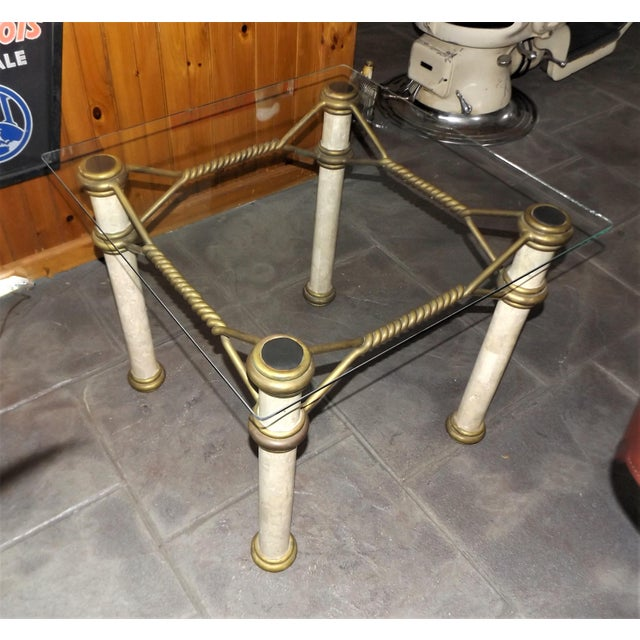 Hollywood Regency Hollywood Regency Glass Top Coffee Table With Brass Trim For Sale - Image 3 of 11
