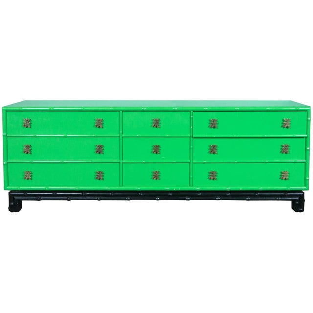 1970s Chinoiserie Ficks Reed Green Faux Bamboo Credenza For Sale - Image 9 of 9