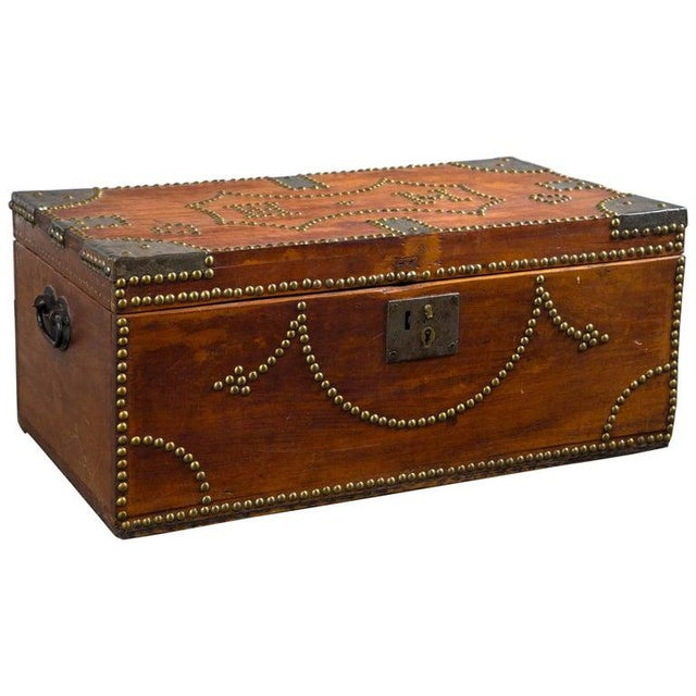 Brown 19th Century Tack Decorated Trunk For Sale - Image 8 of 8